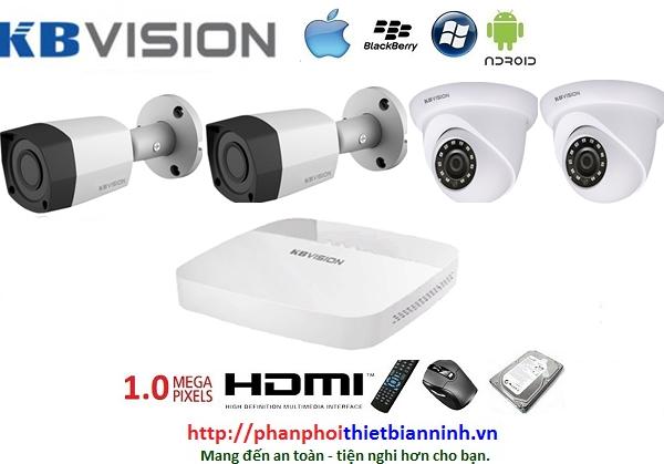Camera Kbvision bộ 1.0MP (DVR 4CH nhựa cao cấp)