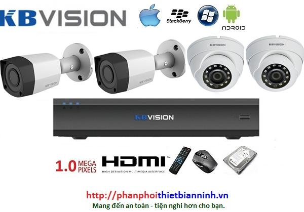 Camera Kbvision trọn bộ 1.0MP (DVR 4CH kim loại)