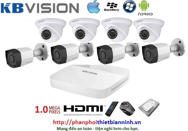 Camera Kbvision bộ 1.0MP (DVR 8CH nhựa cao cấp)