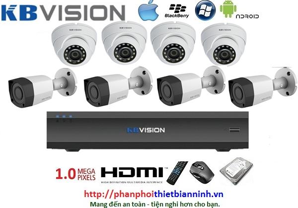 Camera Kbvision trọn bộ 1.0MP (DVR 8CH kim loại)