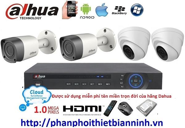 Camera dahua trọn bộ 1.0MP (DVR 4CH kim loại)