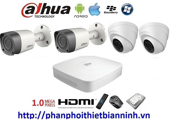 Camera dahua trọn bộ 1.0MP (DVR 4CH Nhựa cao cấp)