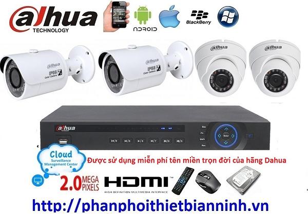 Camera dahua trọn bộ 2.0MP (DVR 4CH cao cấp)