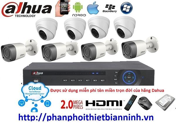 Camera dahua trọn bộ 2.0MP (DVR 8CH kim loại)