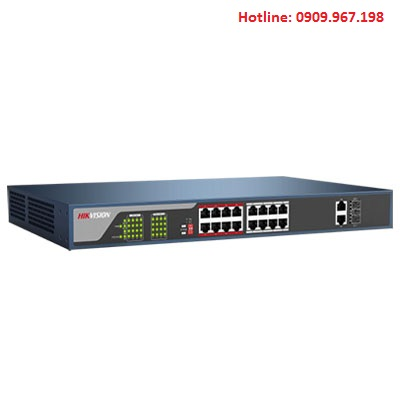 Switch PoE lớp 2, 16 cổng 100M Hikvision DS-3E0318P-E