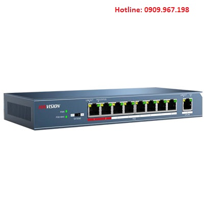 Switch PoE lớp 2, 8 cổng 100M Hikvision DS-3E0109P-E